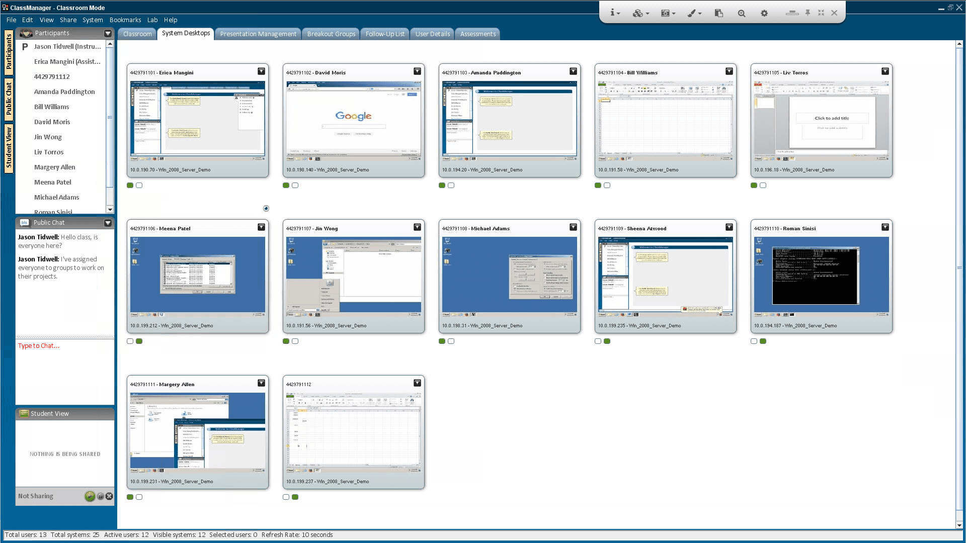 Screenshot of ReadyTech's Lab Management screen, where instructors can see all of the students' desktops simultaneously.